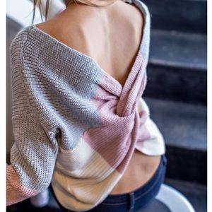 Color Block Twisted Back Sweater